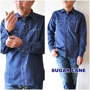SUGARCANE シュガーケーン ウォバッシュワークシャツ 25551 メンズ ウォバッシュストライプ柄シャツ