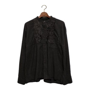 Enharmonic TAVERN Wool Bright Boucle Check Frill Shirt -charcoal <LSD-AH3S1>