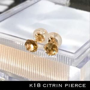 k18 18金 天然石 シトリン  ピアス 11月 誕生石 / k18 citrine pierce