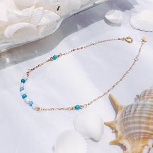 【CORALIA】ビーチ 002 ブレスレット 白珊瑚 ターコイズ K10