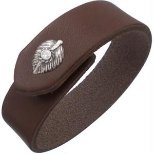 (4月)ジルコニア ブラック ネイディブ ハート フェザー ブラウンレザー ブレスレット 誕生石*BB-1025