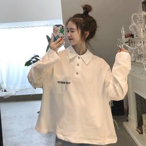 【トップス】人気韓国系長袖POLOネック無地プルオーバーTシャツ25417743