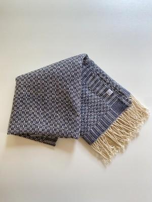 手織りシルクのショール 六花紺 (HAND WOVEN  SCARF  Rocca Navy)