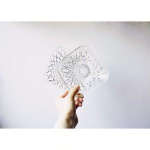 【レトロガラス小皿】スクエア 和食器  昭和レトロ