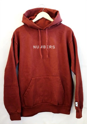 NUMBERS EDITION  EMBRONUMBERS IDERED HOODED  ORANGE ナンバーズ パーカー