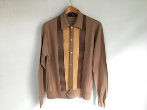 50s 60s ビンテージ イタリアン ニットシャツ シェルボタン 襟付 カーディガン 薄手 / OLD マフィア