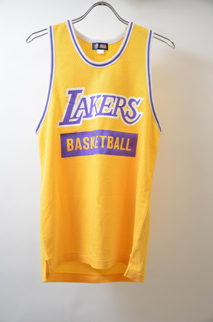 【Lサイズ】 NBA エヌビーエー LAKERS MESH TANKTOP レイカーズ メッシュ ジャージ YELLOW イエロー 243308190301