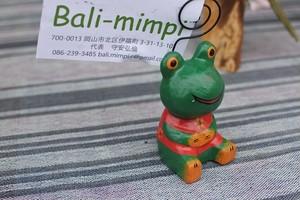 木彫りの動物 カードクリップ カエル