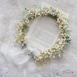 ラスティックかすみ草花冠*シャンペトルオーガンジー