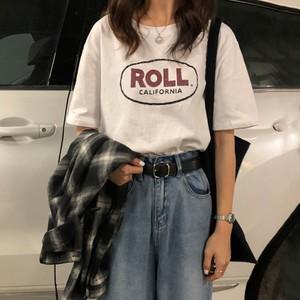 【トップス】コットン半袖カジュアルアルファベットTシャツ