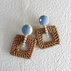 Italian Acrylic stone × Square Rattan P/E - baby blue-