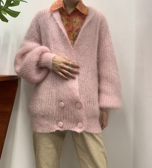 1990s LA VOGUE shawl collar wool knit cardigan 【M】