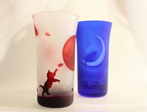 赤:陽~桜と子猫 &青:夜の街 三日月猫