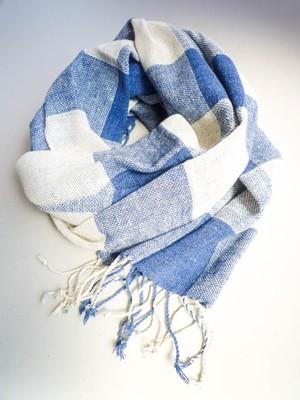 ラオスコットンストール 3ブロックチェック ブルーと白