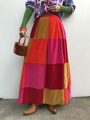 70s handmade patchwork skirt ( ヴィンテージ  ハンドメイド パッチワーク スカート )