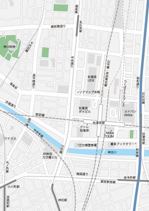 東京 秋葉原・岩本町・神田・小川町・淡路町・末広町 地図フリー素材A4(eps)