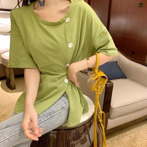 【トップス】ファッション春夏韓国風カジュアルバンド飾りシングルブレスト半袖Tシャツ