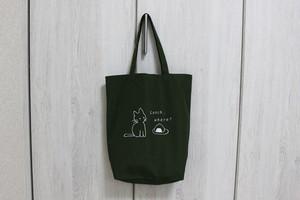 エコバッグ(トートバッグ)☆猫☆カーキM