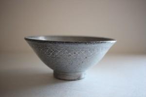 古川元吾(撫菜花工藝)|黒化粧 碗(格子)
