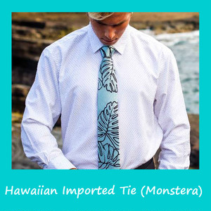 【ラスト1点!】ハワイのメーカー直輸入! ハワイアン シルク ネクタイ(モンステラ)