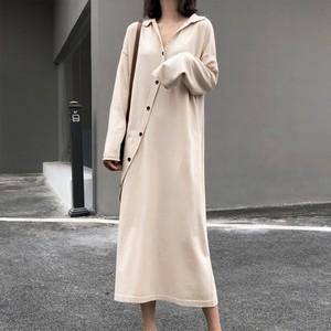 【ワンピース】ファッション長袖Vネックシングルブレストワンピース