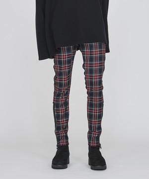 裾ファスナーチェックスキニーパンツ(レッド)