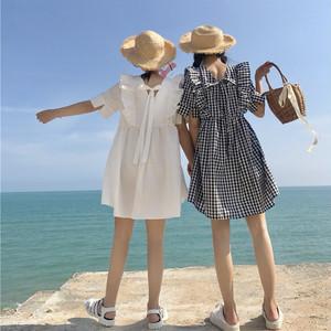 【ワンピース】スウィートファッション夏Aラインチェック柄ショートワンピース