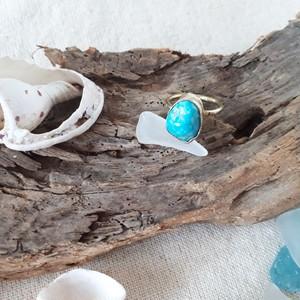 beach ring - kingman turquoise - 8号