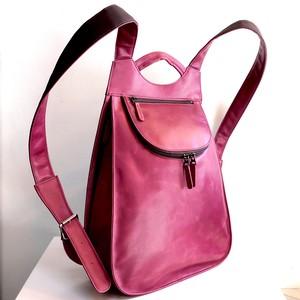 新色「紅紫(こうし)色」フルレザー 街歩きリュック