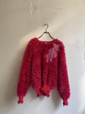 vintage shaggy vivid pink knit