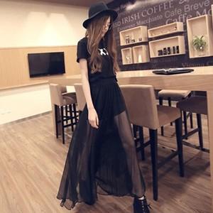 【ボトムス】無地ハイウエスト不規則シフォンファッションロング夏スカート27115247