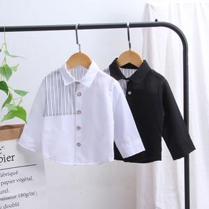 【トップス】定番 シンプル配色ストライプ柄長袖子供シャツ26874813