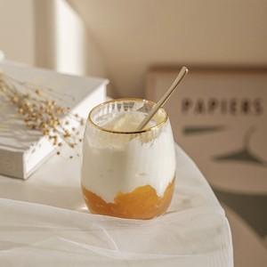 pleats gold line round glass cup  / プリーツ ゴールドライン ガラス コップ 韓国雑貨
