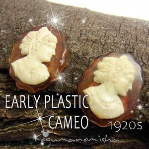 【レア】アーリープラスチック☆ アンティーク カメオ イヤリング 1920s アールデコ ルーサイト
