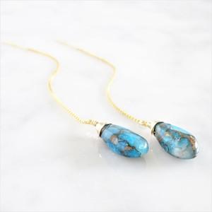 送料無料14kgf*Oyster Copper Turquoise American pierced earring / earring
