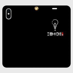 【X,8,7】ロゴ(文字入り)iPhoneケース手帳型黒