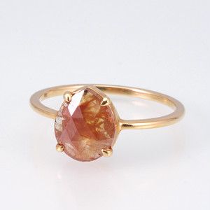 Pear shaped rosecut diamond ring / Red