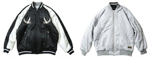 TIGHTBOOTH SUKA MA-1 JKT Black x Silver L タイトブース スカジャン