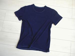 ◆100%自然素材 天然灰汁発酵建て 藍染◆ 竹布 半袖クルーネック Tシャツ(メンズ)