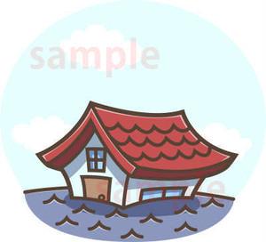 洪水!浸水する家のイラスト素材