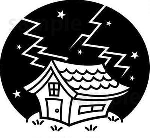落雷!雷が落ちた家イラスト素材 白黒線画