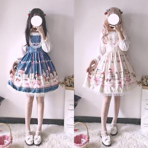 【ワンピース】ファッションスウィートキュートレースギャザー飾りキャミソールワンピース