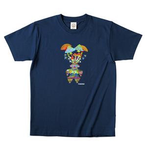 オーガニックコットン  キノコ土偶Tシャツ ネイビー