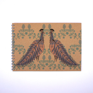 Folk Animals A5 Notebook * Folk Peacock