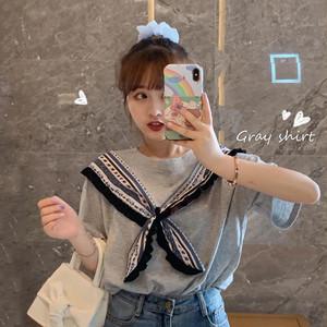 【送料無料】全2色♡スカーフ巻き風♡デザインTシャツ♡