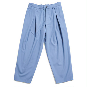 HIGH COUNT CHAMBRAY TUCK TROUSERS