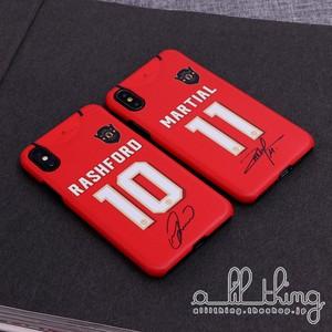 「EPL」マンチェスターユナイテッド 2019-20シーズン ホームユニフォーム マーカスラッシュフォード アントニーマルシャル サイン入り iPhoneXR iPhone8 ケース