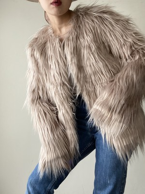 No Collar Eco Fur Jacket