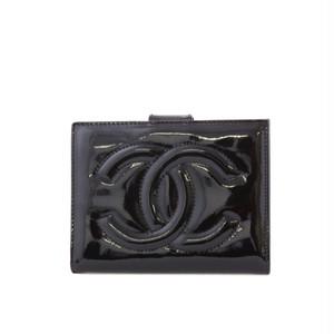 CHANEL/シャネル パテントレザー二つ折り財布 ブラック(30039)