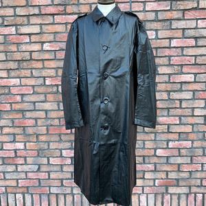 1960-70s Swedish Military Rubber Coat Black C50